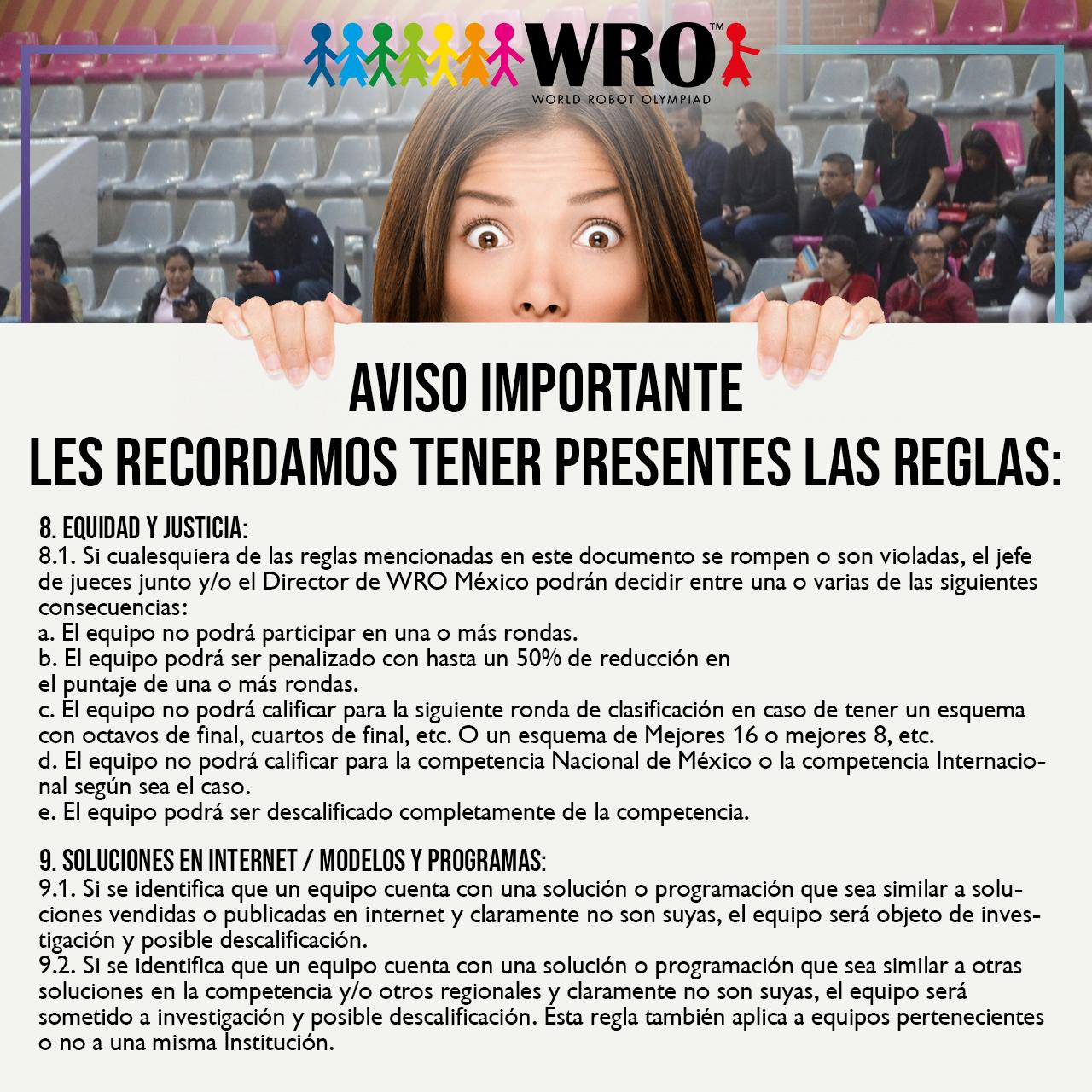 WRO México | Aviso Reglas