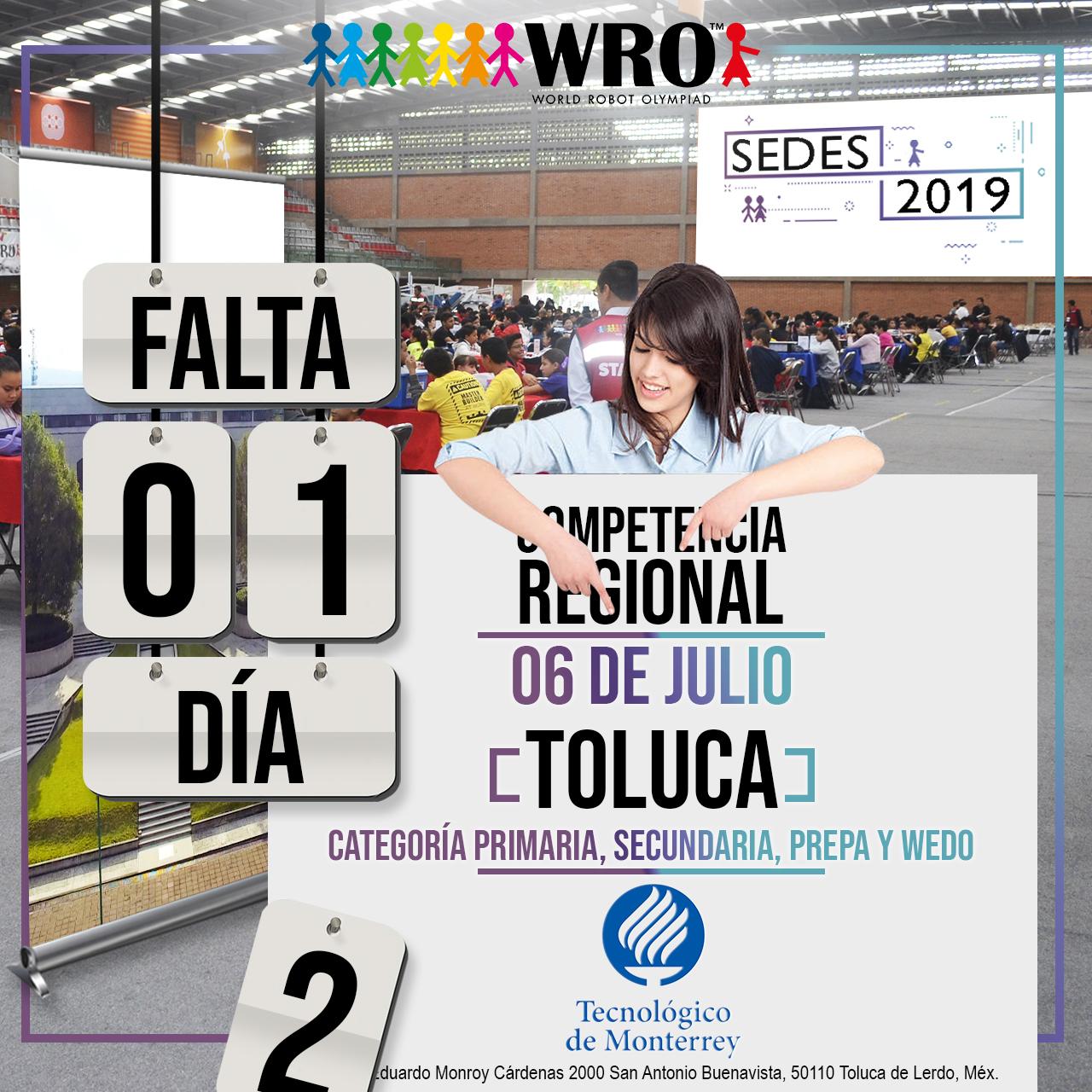 WRO México | Falta 1 día Sede Toluca