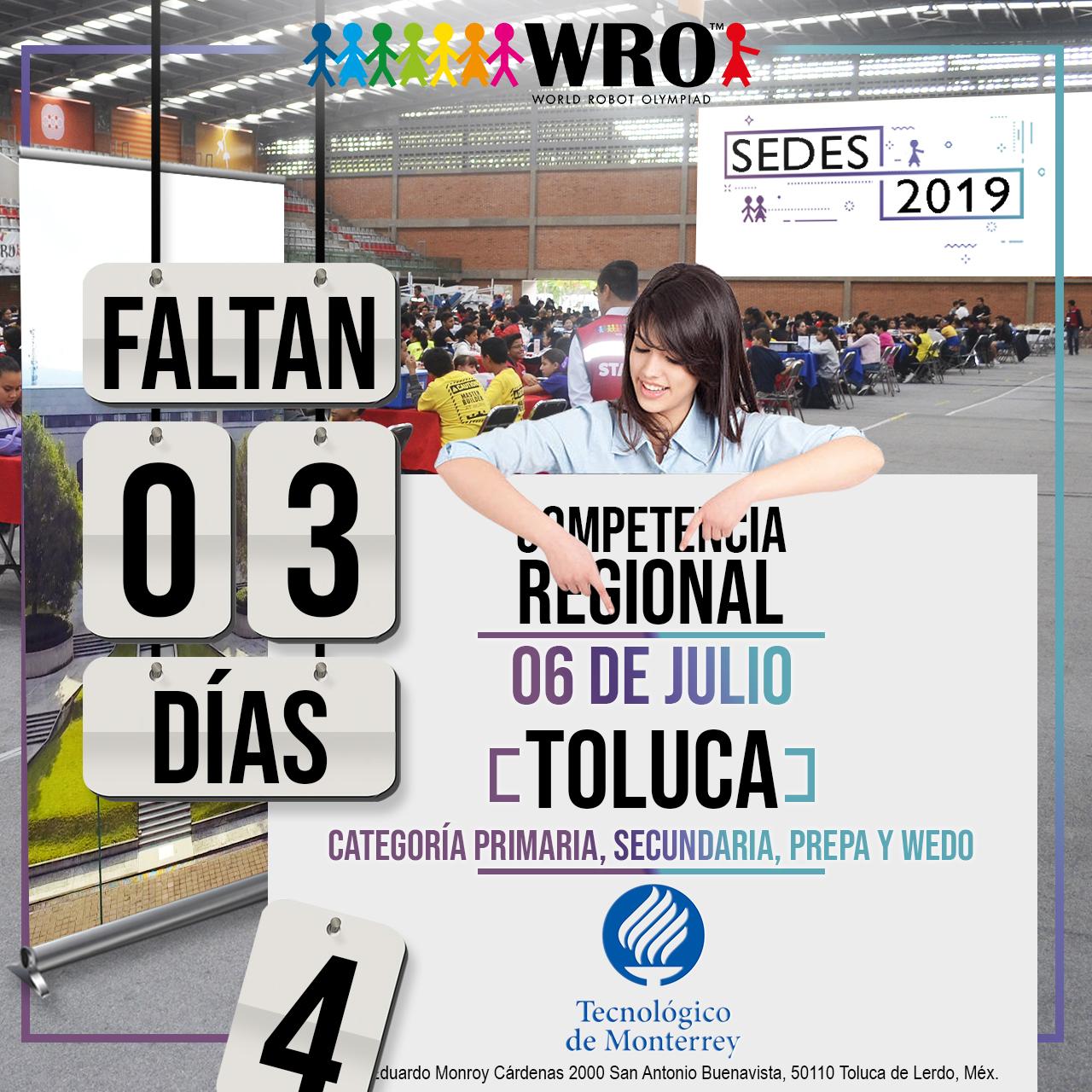 WRO México | Faltan 3 días Sede Toluca